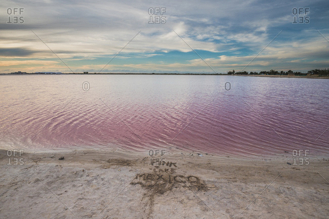 Las Coloradas, salt pink lagoon, beautiful pink water and clear
