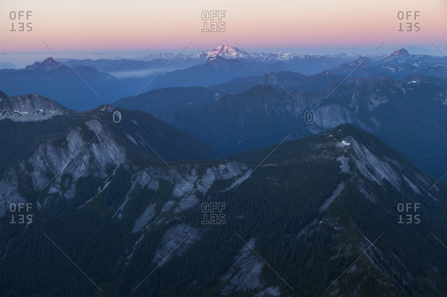 Glacier Peak at sunset from Three Fingers Lookout, North Cascades