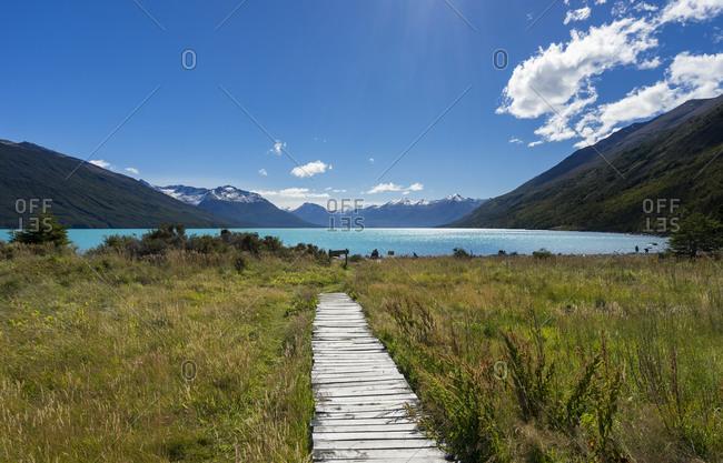 Wooden boardwalk leading to Argentino Lake at Los Glaciares National