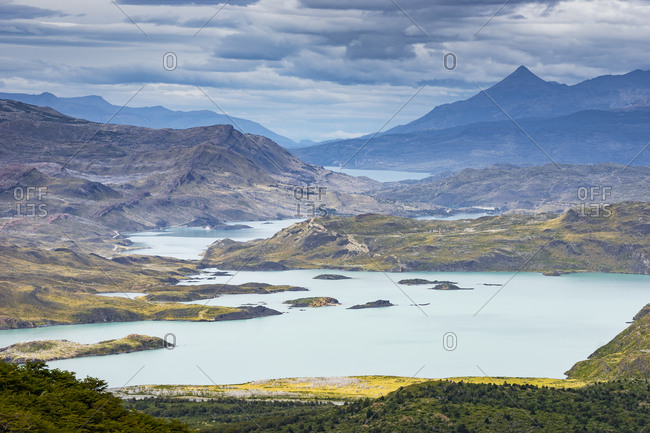 Idyllic view of lakes and mountains in Torres del Paine National