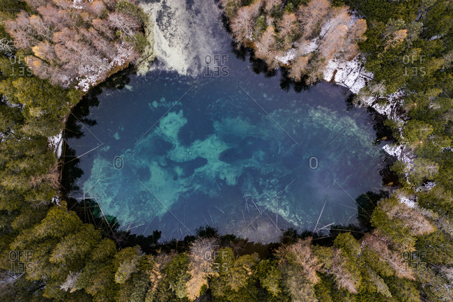 Aerial of Blue Freshwater Spring in Kitch-iti-kipi SP in Michigan