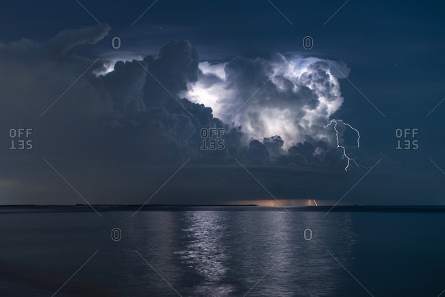 Storm Clouds and a Lightning Storm Roll Through St. Petersburg, FL