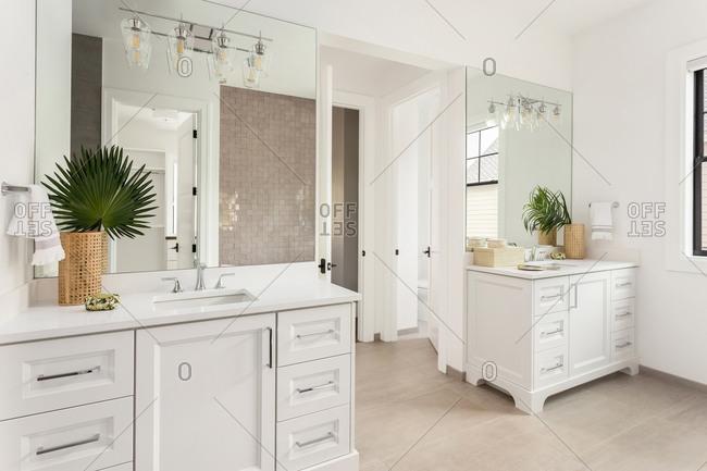 Bathroom sinks and vanities in new luxury home