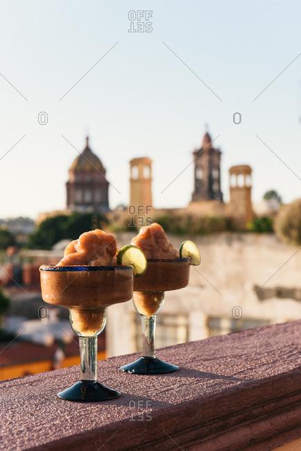 Tamarind margaritas on balcony overlooking San Miguel de Allende