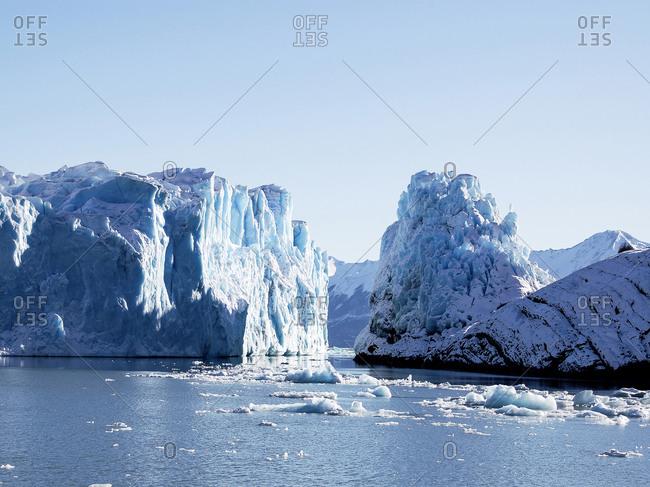 The Perito Moreno Glacier is a thick mass of ice located in the Lago A