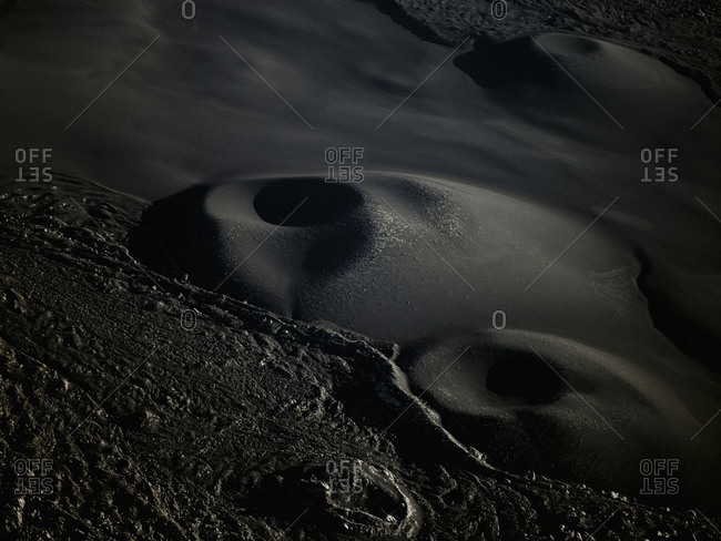 Aerial view of volcanic crater near Mount Hekla in south west Iceland
