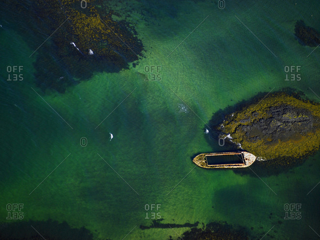 Aerial view of stranded barge off the coast in Iceland