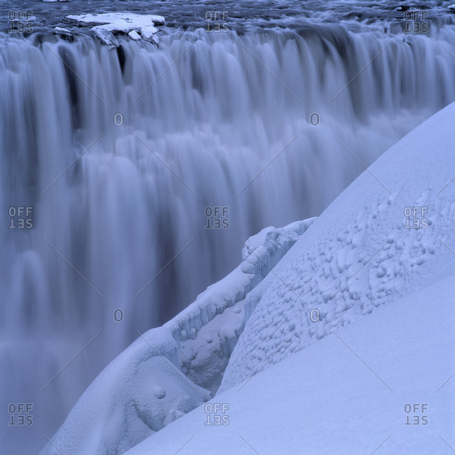 Close up of Dettifoss waterfall in the winter