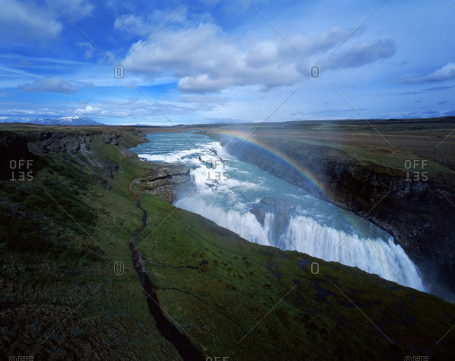 Gullfoss waterfall in Iceland with rainbow