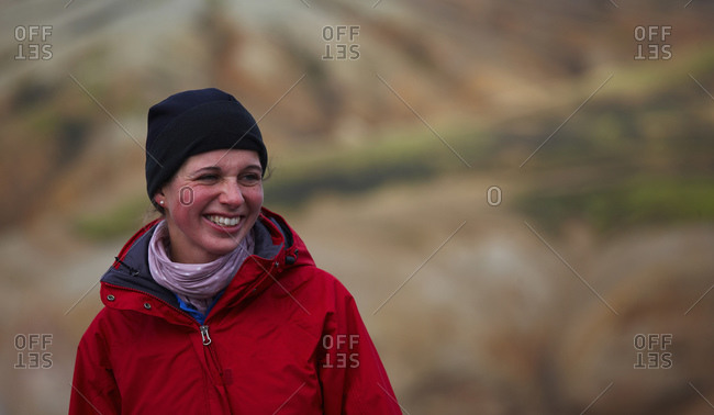 Portrait of young woman on the Laugavegur hiking trail