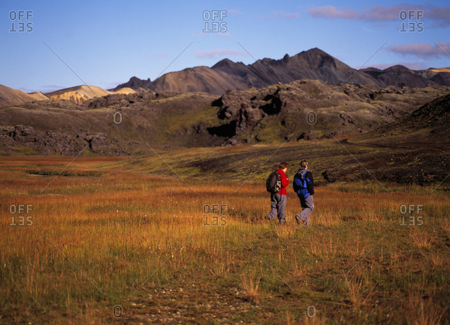 Two women exploring the Landmannalaugar area