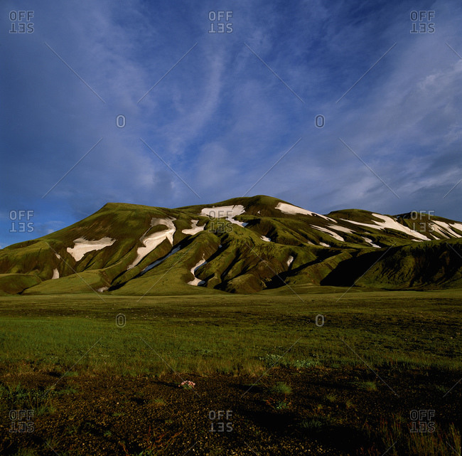 Green mountain in the Fjallabak area in the highlands of Iceland