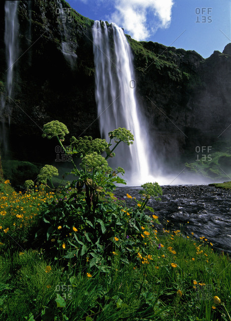 The waterfall Seljalandsfoss in south Iceland