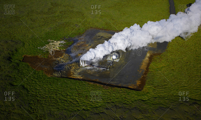 Aerial shot of a pump station at geothermal power station in Iceland