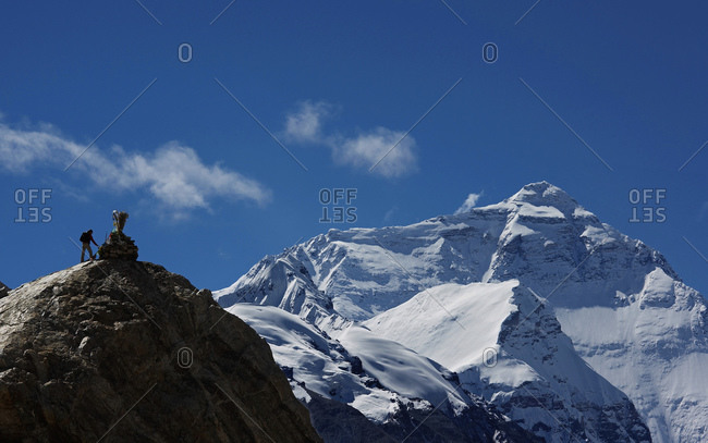 The north face of mount Everest see from the Tibetan side