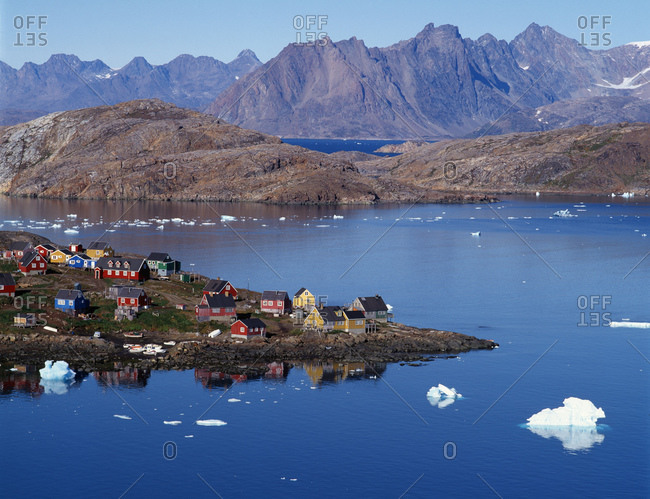 The arctic village of Kulusuk on a calm summer day