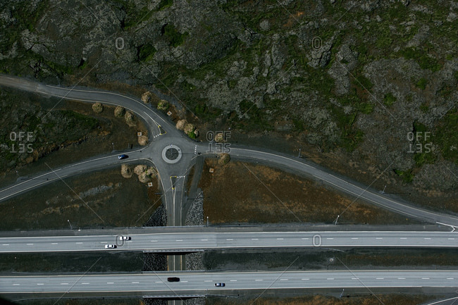 Aerial shoot of a junction and overpass road in Iceland