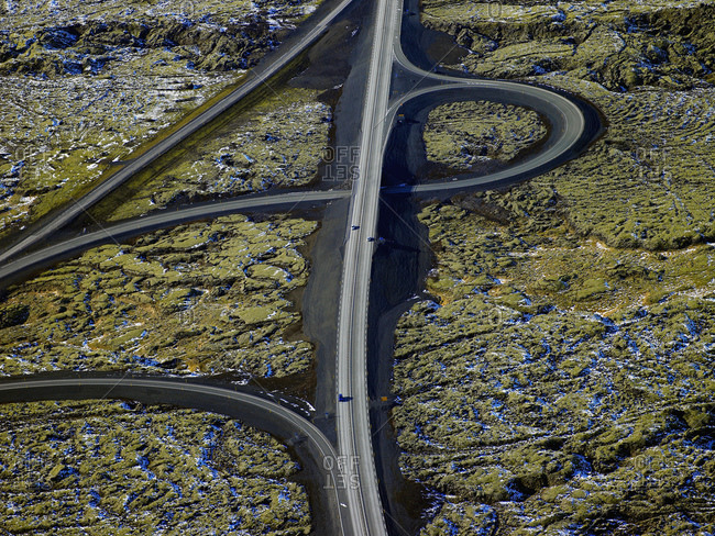 Aerial shot of the number one road close to Reykjavik