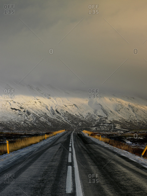 Rural road in Iceland during winter