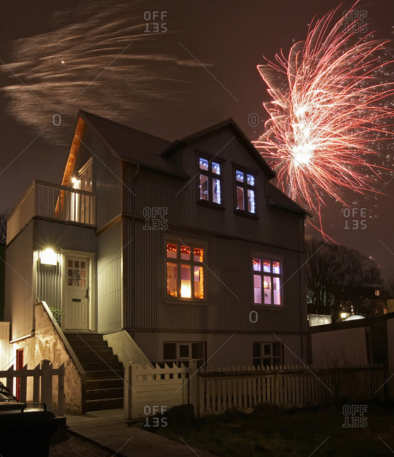 Traditional house in downtown Reykjavik on New Year's eve