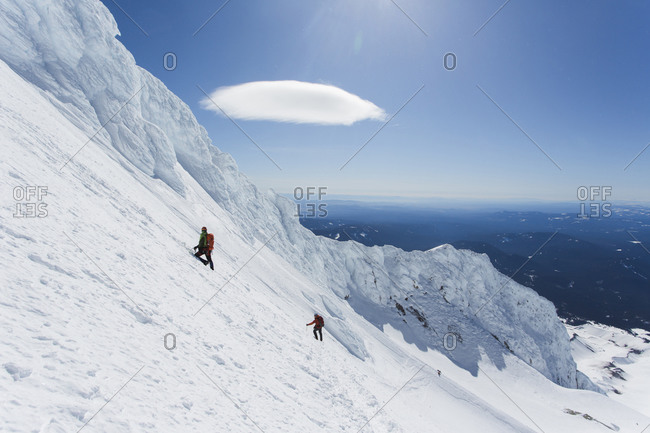 A man climbs down from the summit of Mt. Hood in Oregon.