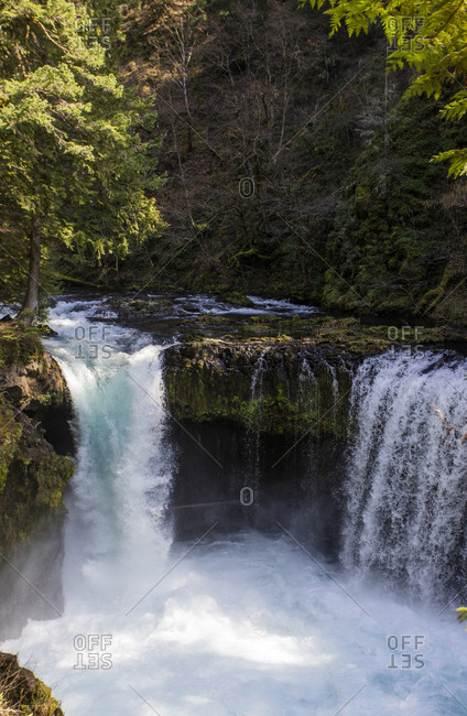 A kayaker launches off Spirit Falls in the Columbia Gorge.