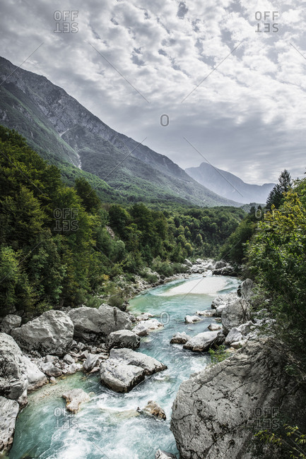 Mountain river valley landscape, Kobarid, Bohinj Commune, Slovenia