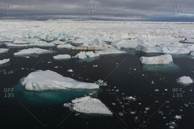Ice floes in the Erik Eriksenstretet strait separating Kong Karls Land from Nordaustlandet, Svalbard, Norway