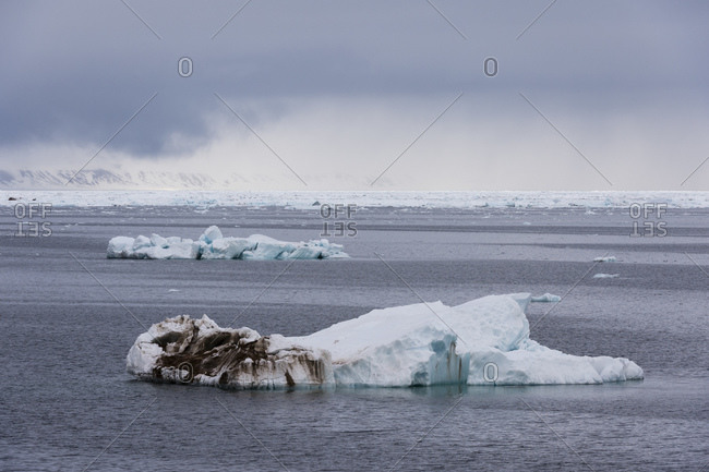 Arctic ocean ice floe seascape, Erik Eriksenstretet strait separating Kong Karls Land from Nordaustlandet, Svalbard, Norway