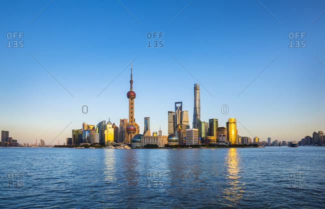 January 30, 2019: Huangpu river and Pudong skyline, Shanghai, China