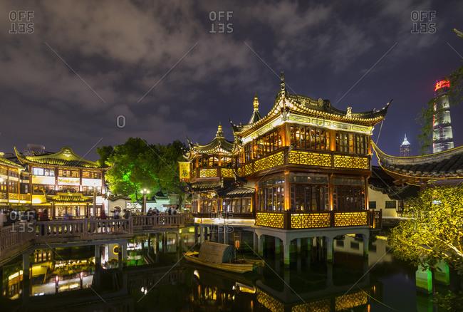 January 31, 2019: Tea house in Yu Garden at night, Shanghai, China