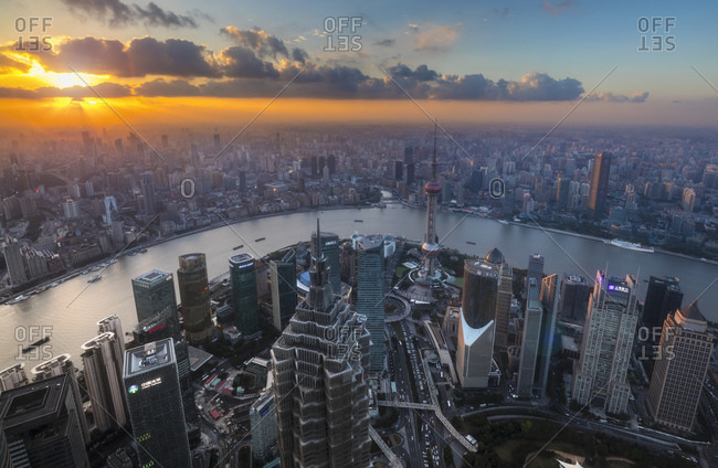January 31, 2019: Pudong skyline and Huangpu river at sunset, high angle view, Shanghai, China