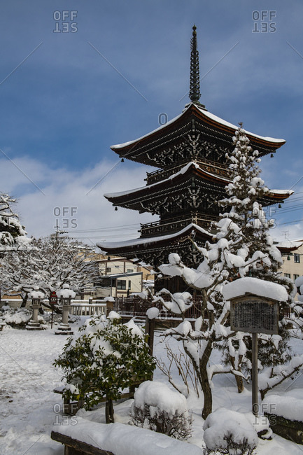 December 30, 2018: Snow covered shrine in winter, Takayama, Gifu, Japan