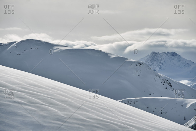 Snow covered mountain landscape, Alpe-d'Huez, Rhone-Alpes, France