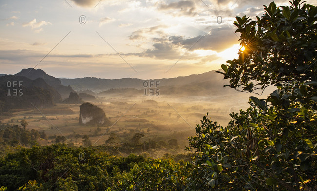 Morning mist over valley of Golden Triangle, Nan, Thailand