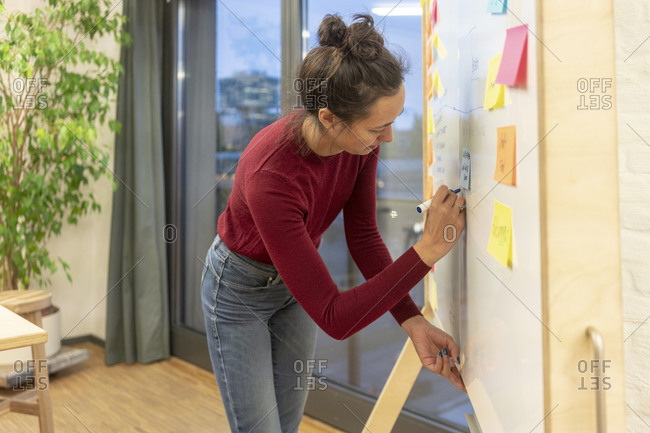 Mid adult businesswoman writing on office whiteboard