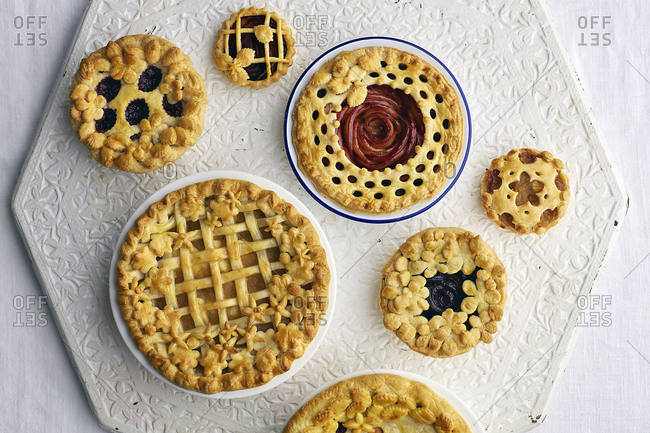 Overhead view of a variety of cooked tarts
