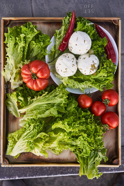 Fresh vegetables from the market in a box