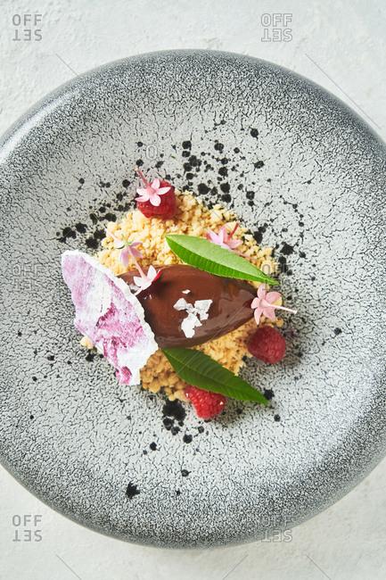 Chocolate ganache with berries