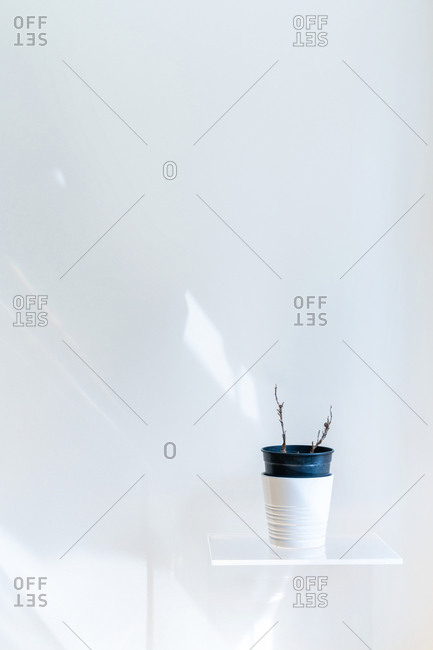 Conceptual interior design and minimal concept. Vertical composition with white copy space. Artistic still life indoors.