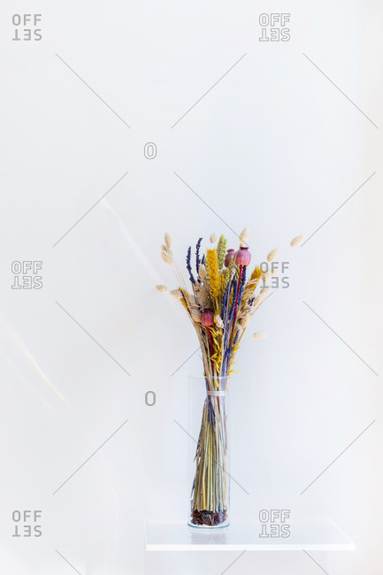 Vertical view of Isolated crystal vase with colorful dry flower bouquet. Composition with white copy space.