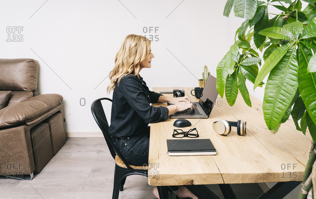 Beautiful blonde Caucasian woman works from her living room with her laptop on a wooden desk. She wears black casual clothes.