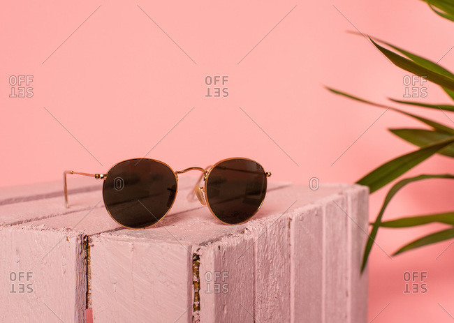 Trendy retro female sunglasses placed on pink wooden box near green plants against pink background