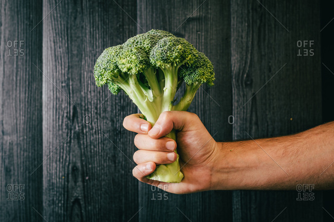 Unrecognizable person grasping and showing healthy fresh broccoli against black lumber wall while being on diet