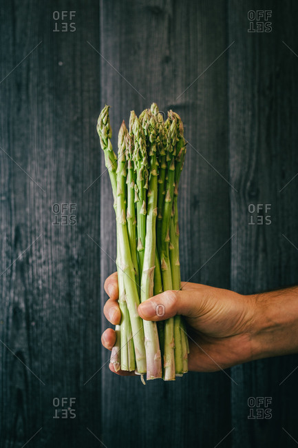Unrecognizable person holding and showing a bunch of healthy fresh green asparagus against black lumber wall