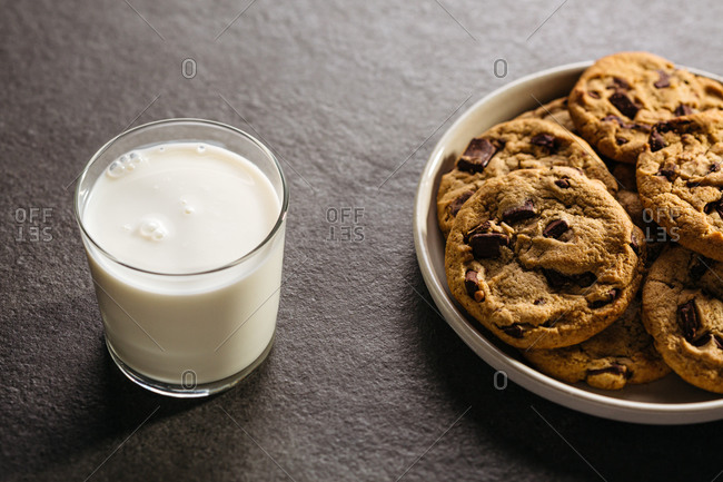 Glass of milk and plate of chocolate chip cookies