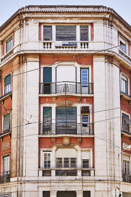 Lisbon, Portugal - July 19, 2019: Old apartment building in downtown Lisbon