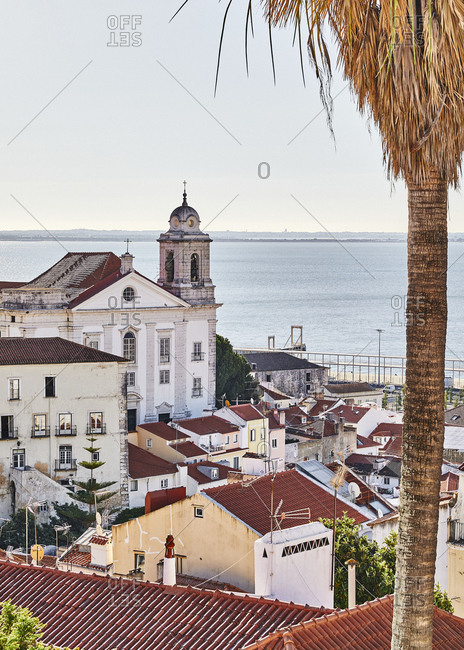Lisbon, Portugal - July 20, 2019: View over buildings on the coast of Lisbon