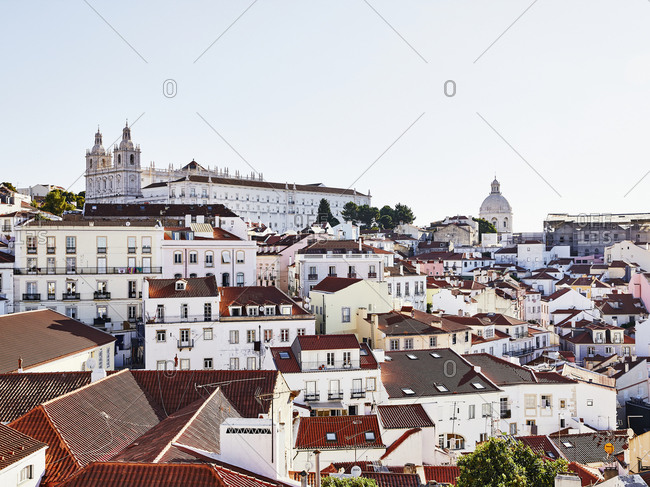 Lisbon, Portugal - July 20, 2019: View over buildings in downtown Lisbon