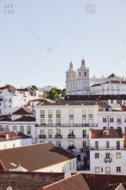 Lisbon, Portugal - July 20, 2019: View over buildings and church in downtown Lisbon